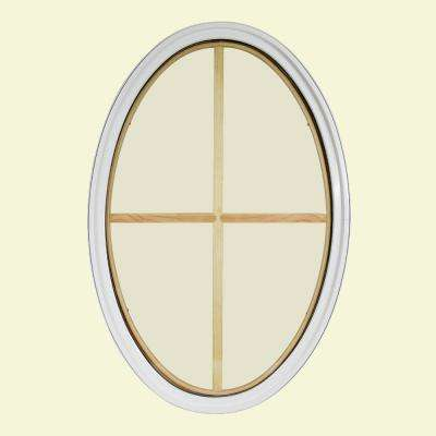 24 in. x 36 in. Oval White 4-9/16 in. Jamb 2-1/4 in. Interior Trim 4-Lite Grille Geometric Aluminum Clad Wood Window