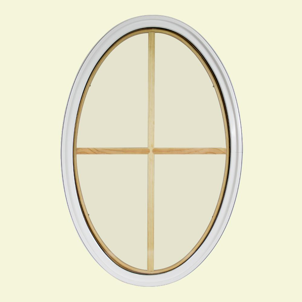 24 in. x 36 in. Oval White 6-9/16 in. Jamb 2-1/4