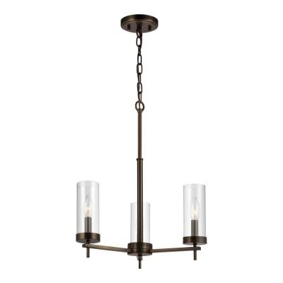 Zire 3-Light Brushed Oil Rubbed Bronze Chandelier with Clear Glass Shades with Dimmable Candelabra LED Bulb