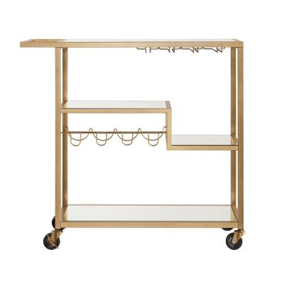 Allyon Champagne Gold Bar Cart with Wine Glass Storage