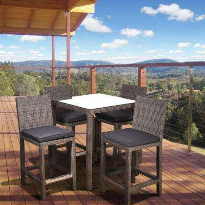 Monza Square 5-Piece Patio Bar Set with Gray Cushion