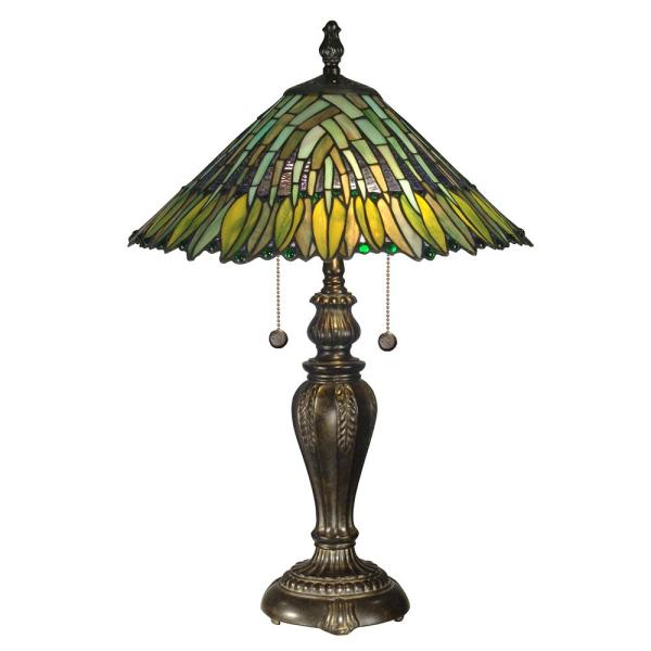 26 in. Leavesley Fieldstone Finish Table Lamp with Tiffany Art Glass Shade