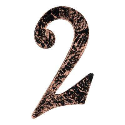 Hammered 6 in. Antique Copper House Number 2