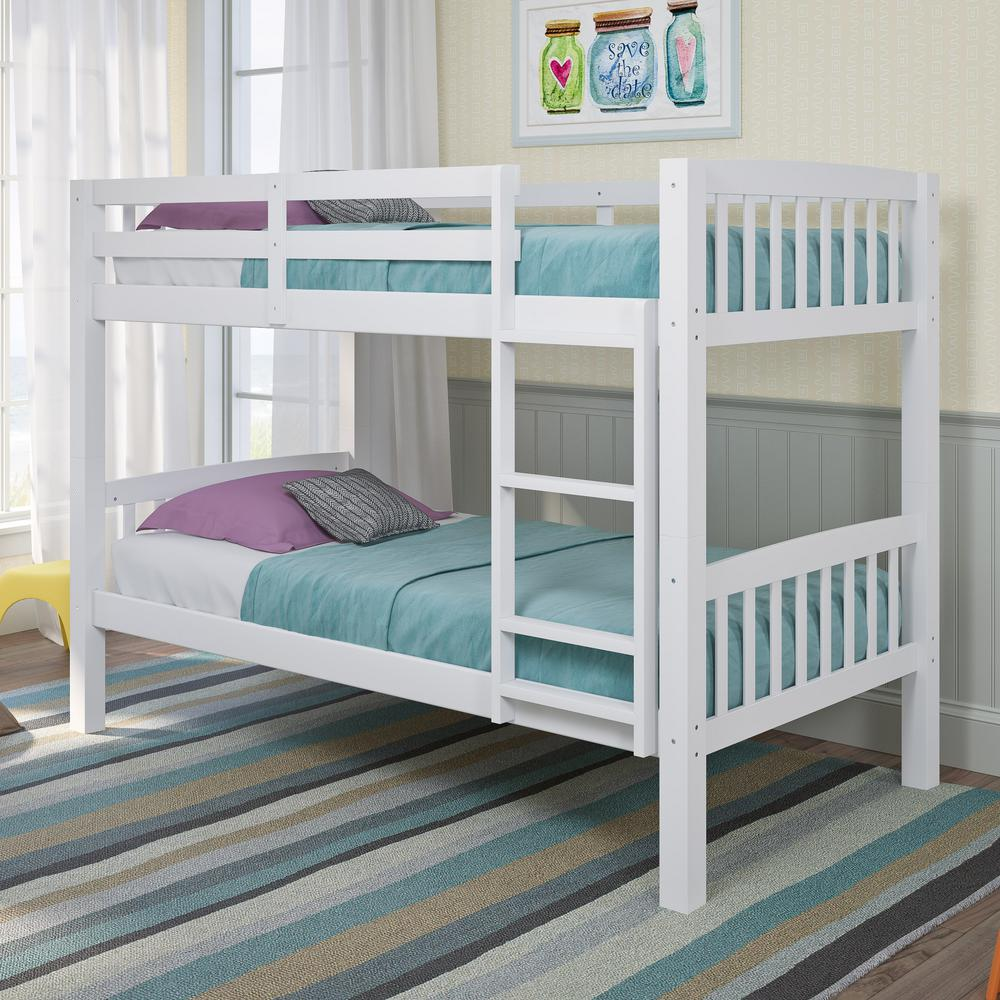 Corliving Dakota White Twin Single Bunk Bed Bdn 210 B