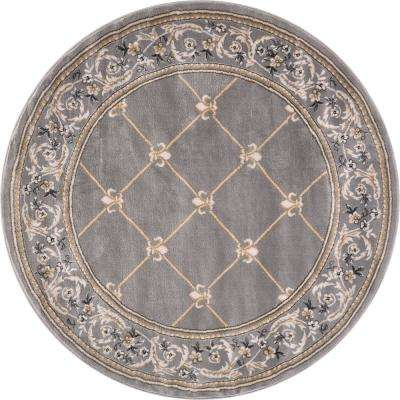 Timeless Fleur De Lis Grey Traditional Trellis Floral Border 8 ft. x 8 ft. Round Area Rug