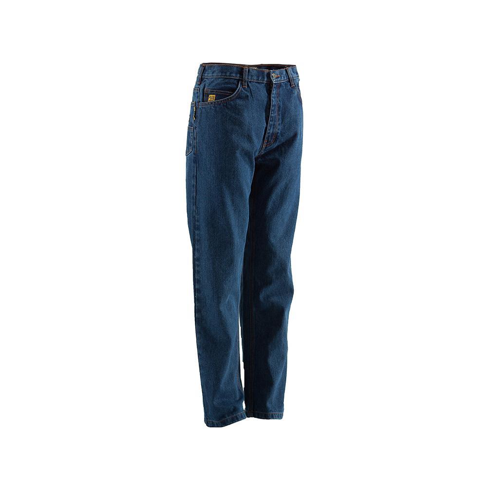 Berne Men's 34 in  x 40 in  Stone Wash Dark 100% Cotton FR 5-Pocket Jeans