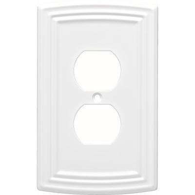 Emery Decorative Single Duplex Outlet Cover, Pure White