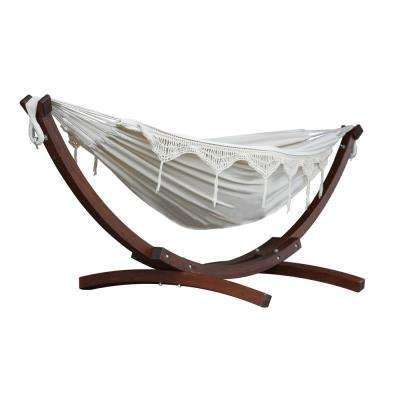 8 ft. Double Cotton Hammock in Natural with 8 ft. Solid Pine Arc Stand