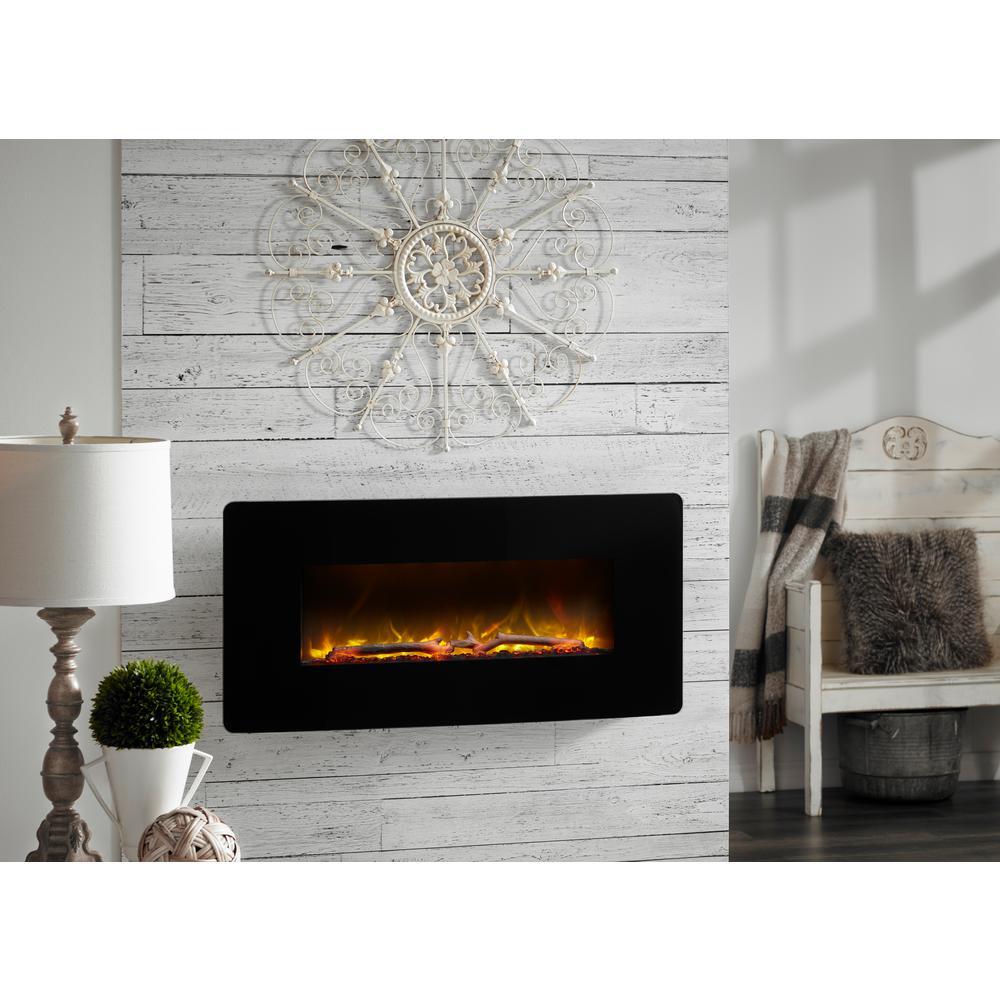 Winslow 35 in. Wall-Mount/Tabletop Linear Electric Fireplace in Black