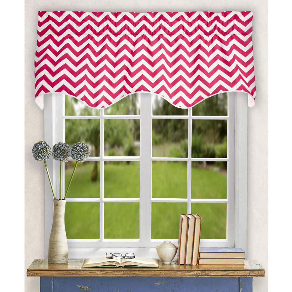 L Cotton Lined Scallop Valance In Pink