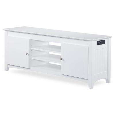 Nantucket 24 in. x 60 in. White TV Table with Adjustable Shelves and Charging Station