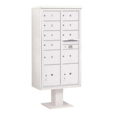 3400 Series White Mount 4C Pedestal Mailbox with 7 MB2/2 MB3 Doors/2 PL