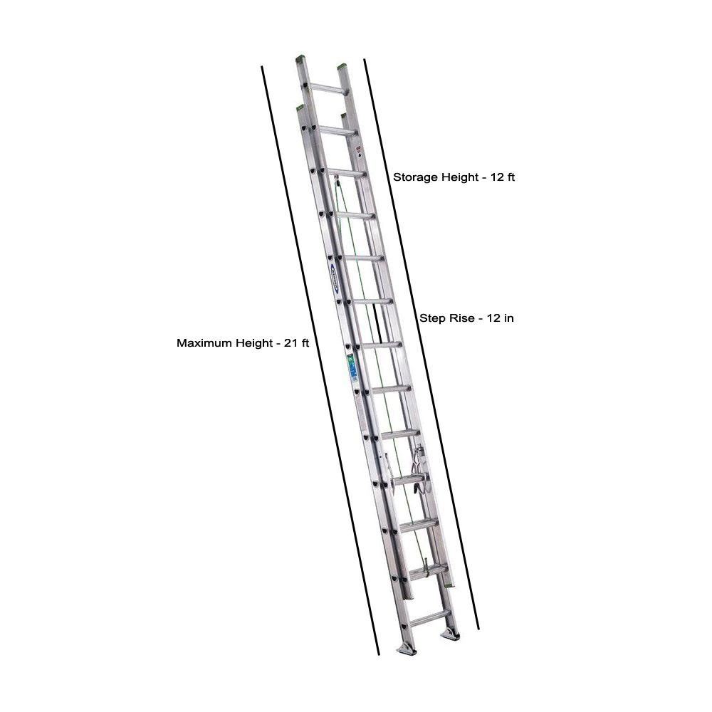 Werner 24 Ft Aluminum Extension Ladder With 225 Lb Load Capacity Type Ii Duty Rating D1224 2 The Home Depot