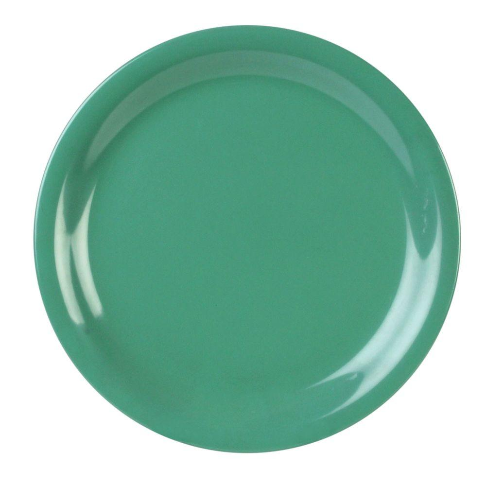 Coleur 10-1/2 in. Narrow Rim Plate in Green (12-Piece)