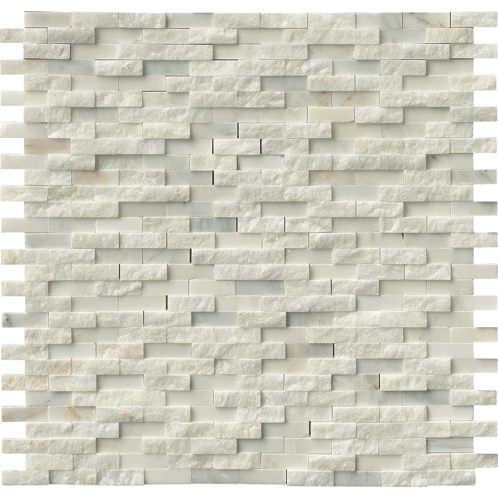 Split Face Tile Fireplace Part - 45: MS International Greecian White Splitface 12 In. X 12 In. Marble  Mesh-Mounted