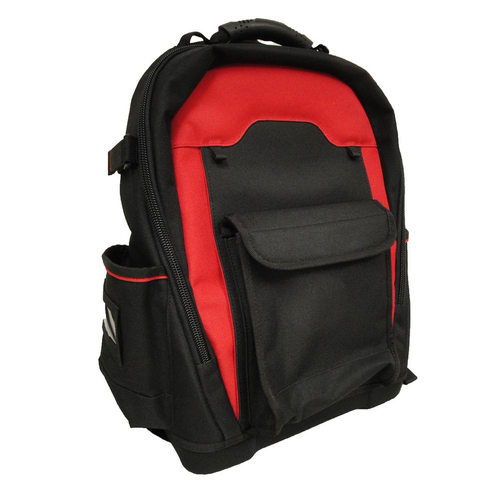 18in Tool Bag Backpack with Removable Tool Wall in Red