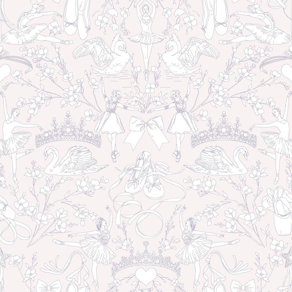56 sq. ft. Ballet Toile Wallpaper