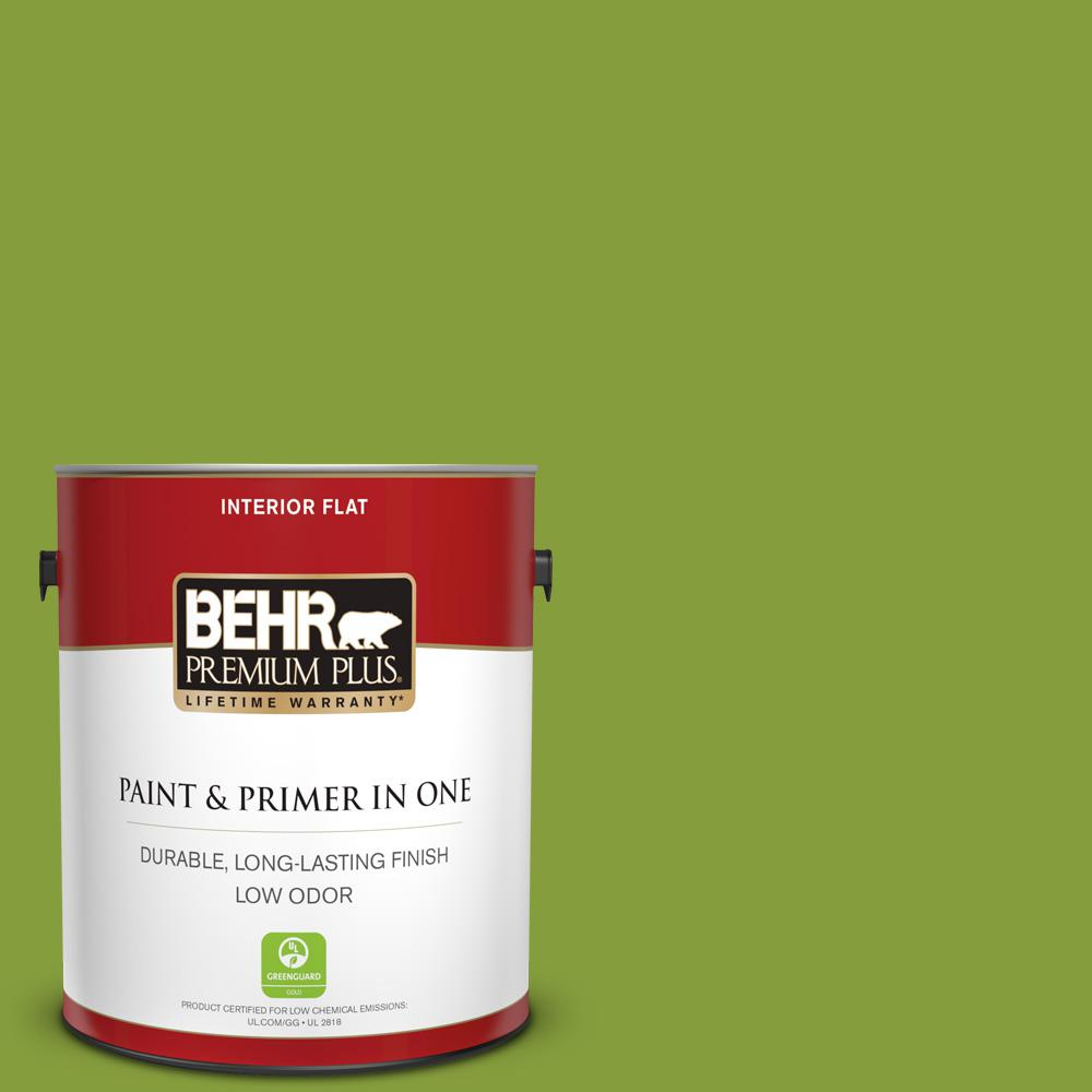 BEHR Premium Plus 1 gal. #T14-18 New Shoot Flat Low Odor Interior Paint and Primer in One