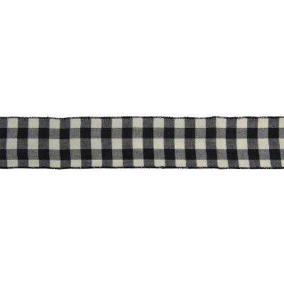 2.5 in. x 16 yds. Double Sided Black and White Buffalo Check Wired Ribbon