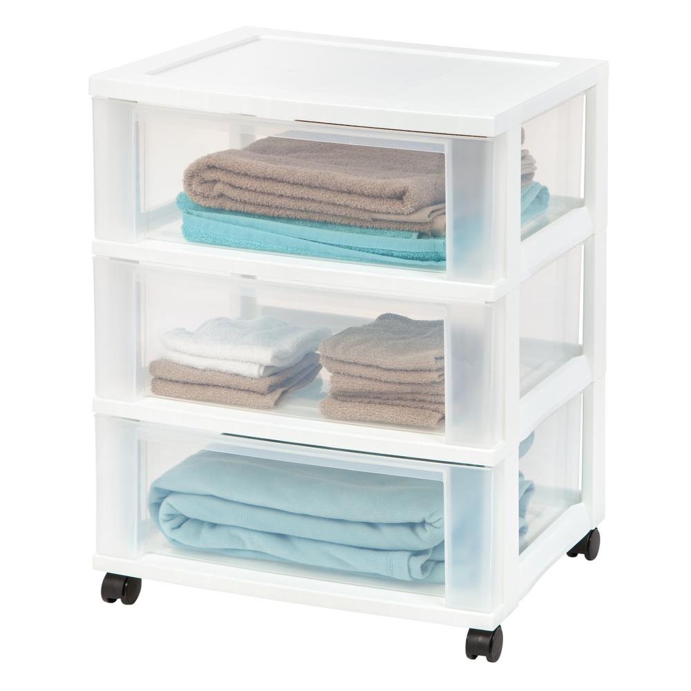 IRIS 1.0 Qt. 3-Drawer Cart Storage Bin in White  sc 1 st  The Home Depot : 3 drawer storage containers  - Aquiesqueretaro.Com