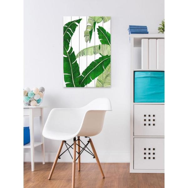 60 in. H x 40 in. W ''Banana 2'' by Dantell Printed White Wood Wall Art