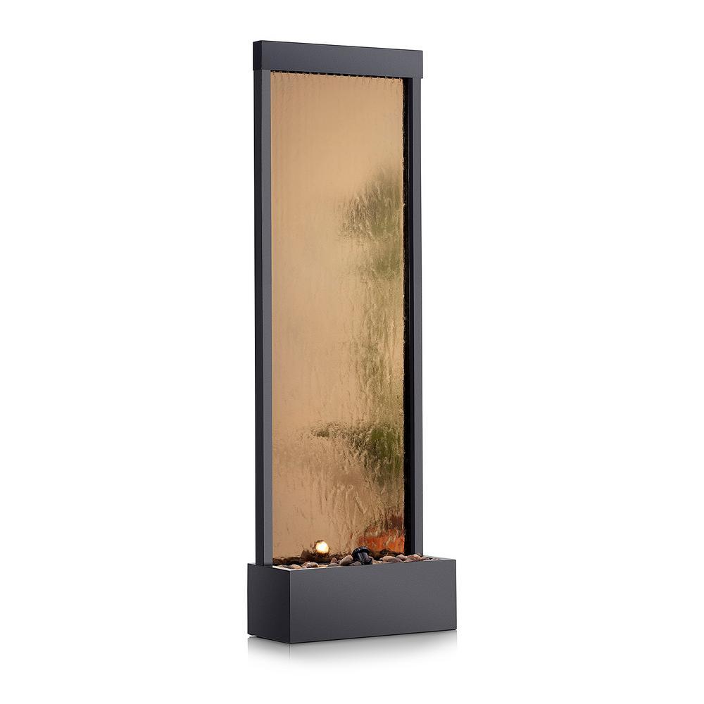 72 in. Tall Indoor/Outdoor Mirror Zen Waterfall Fountain with Stones and Lights, Bronze