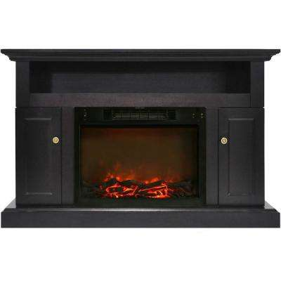 Sorrento Electric Fireplace with 1500-Watt Log Insert and 47 in. Entertainment Stand in Black Coffee