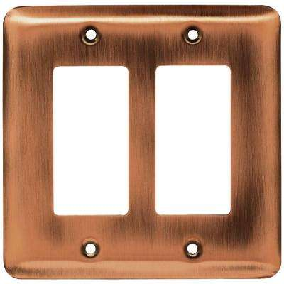 Stamped Round Decorative Double Rocker Switch Plate, Antique Copper