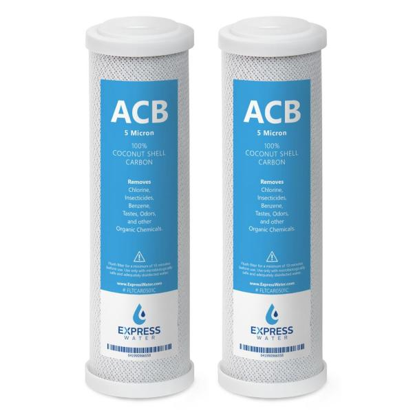 Reverse Osmosis and Under Sink 5 Micron Activated Carbon Block ACB 10 in. Replacement Water Filter Cartridge (2-Pack)