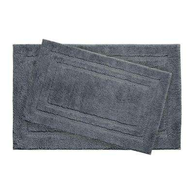 Double Border Gun Metal 21 in. x 34 in. 2-Piece Bath Mat Set