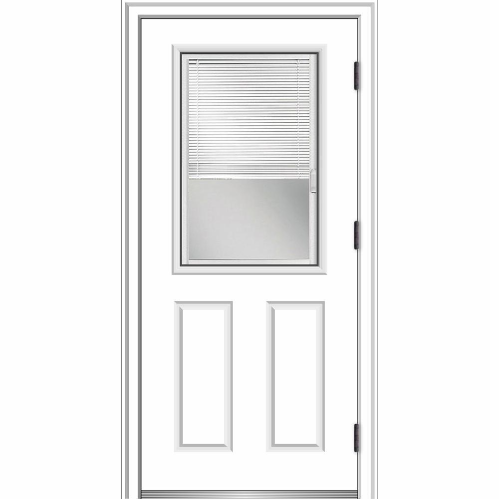 MMI Door 32 in. x 80 in. Internal Blinds Left-Hand Outswing 1/2 Lite 2-Panel Clear Primed Steel Prehung Front Door w/ Brickmould