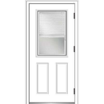 32 in. x 80 in. Internal Blinds Left-Hand Outswing 1/2 Lite 2-Panel Clear Primed Steel Prehung Front Door w/ Brickmould