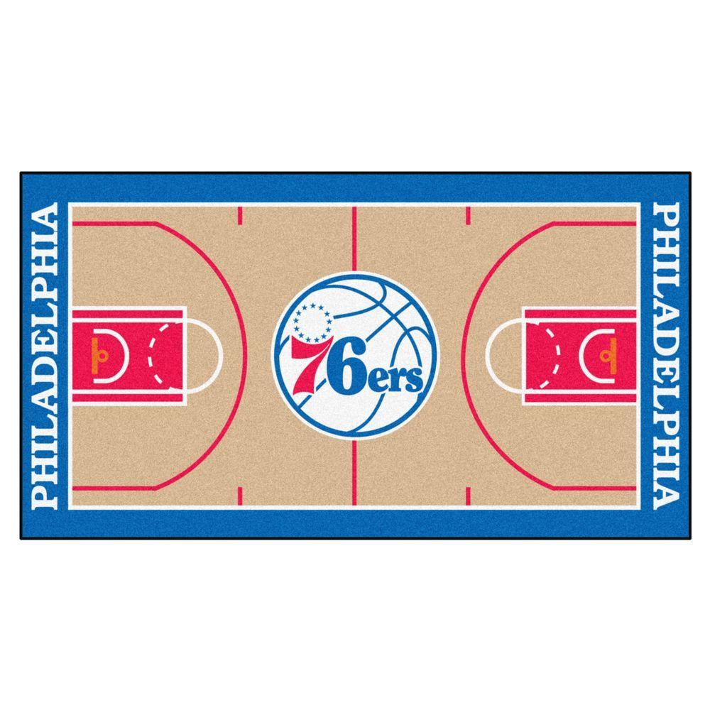 NBA Philadelphia 76ers Tan 3 ft. x 5 ft. Indoor Basketball Court Runner Rug
