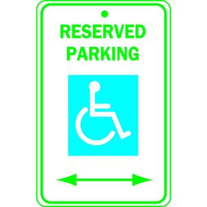 Brady 18 inch x 12 inch Aluminum Reserved Parking Handicapped Sign by Brady