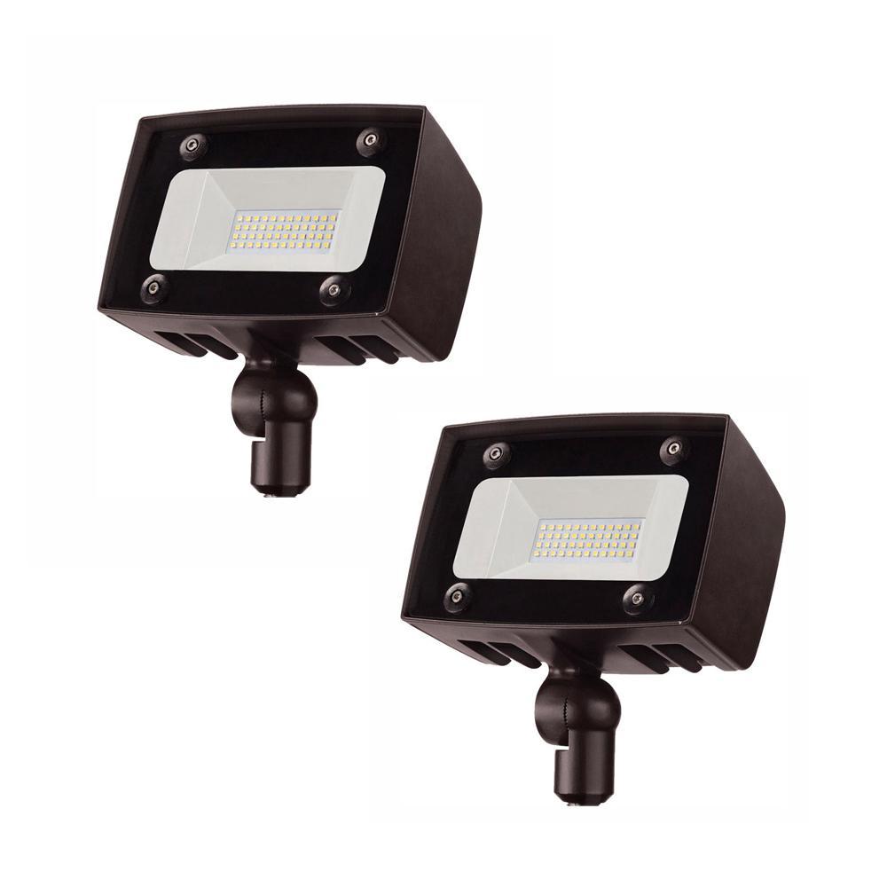 Bright Architectural 20-Watt Integrated LED Flood Light, 2000 Lumens, Outdoor Security Light (2-Pack)