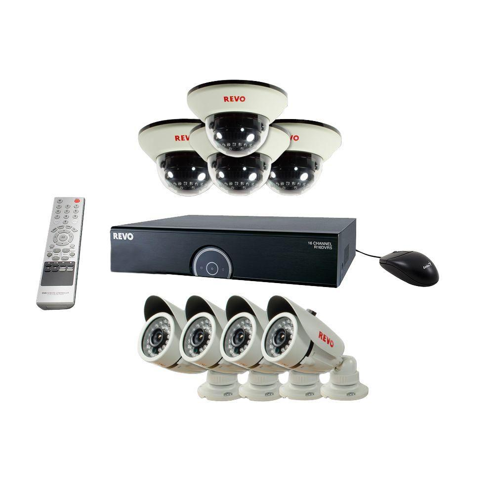 16-Channel 2TB 960H DVR Surveillance System with (8) 1200 TVL 100