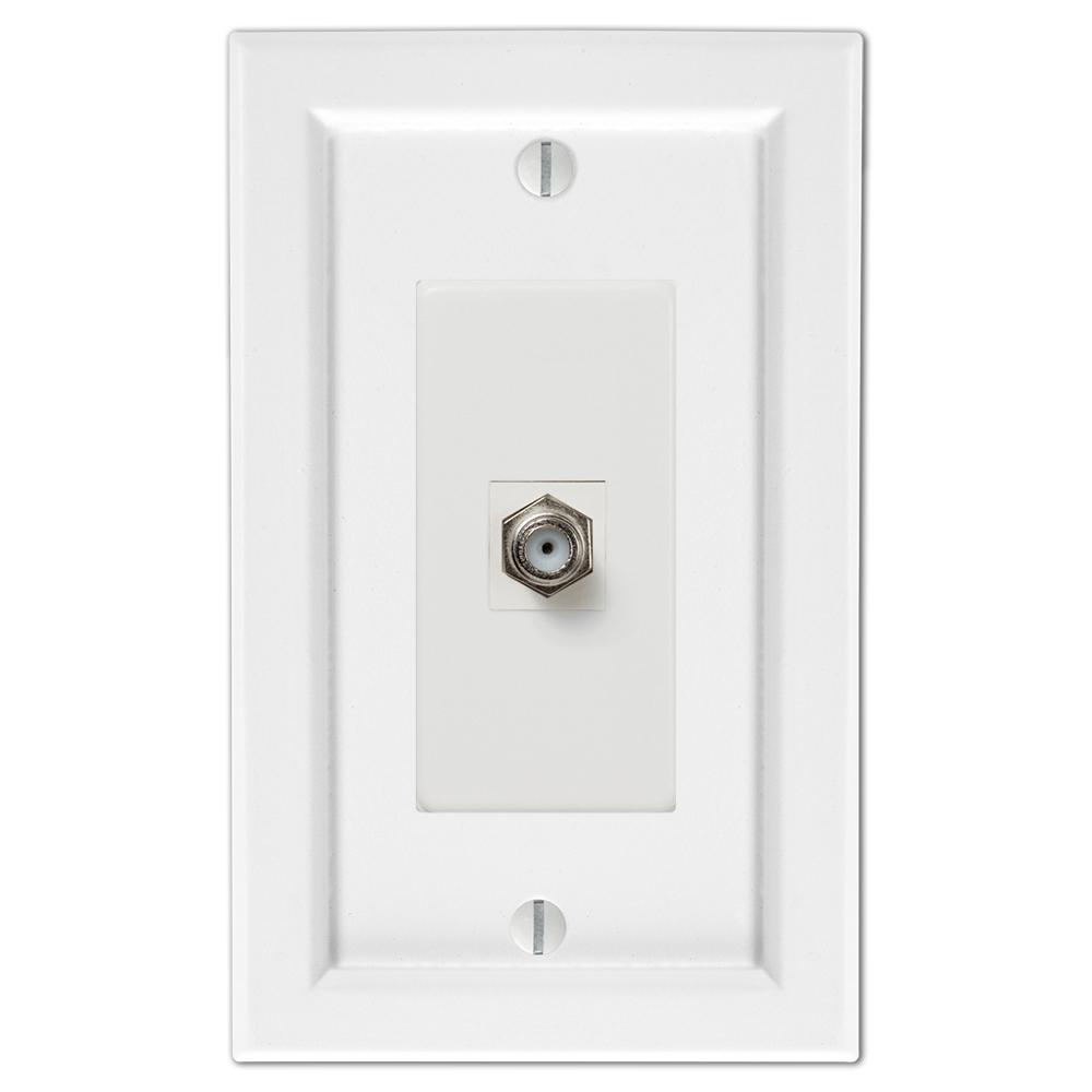 AMERELLE Woodmore 1 Gang Coax Wood Wall Plate - White