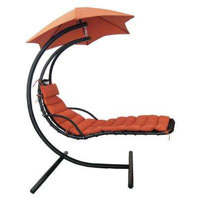 Island Retreat Hanging Terra Cotta Patio Lounge with Shade Canopy
