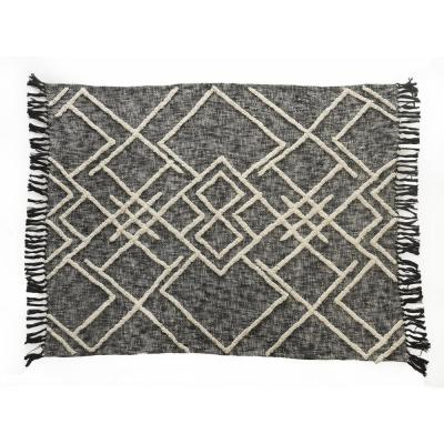 Contemporary Black / White Cotton Over Tufted Geometric Throw Blanket