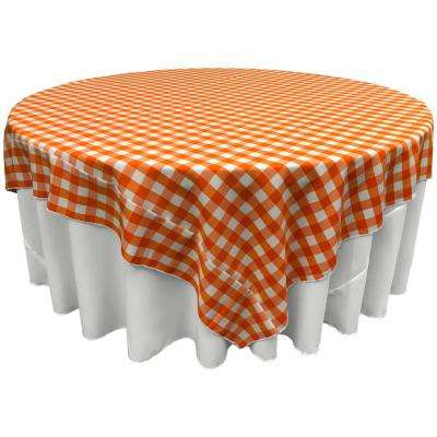 """72 in. x 72 in. White and Orange Polyester Gingham Checkered Square Tablecloth"""