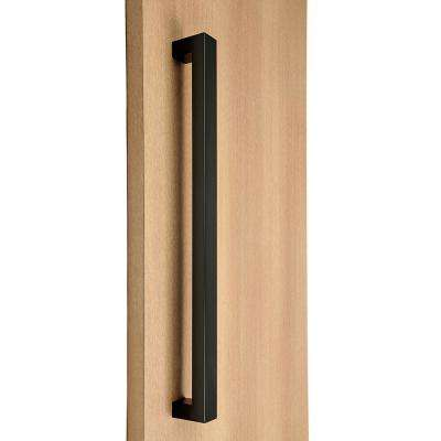 36 in. Square Style 1 in. x 1 in. Matte Black Stainless Steel Door Pull Handleset with Easy Installation