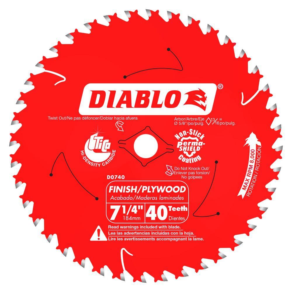 Diablo 7 1 4 In X 40 Teeth Finish Saw Blade D0740r The Home Depot