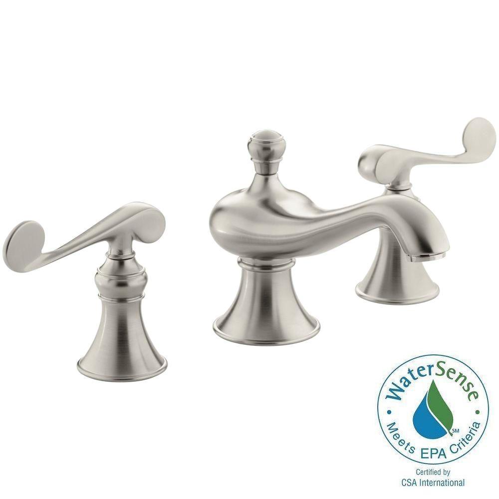 Revival 8 in. Widespread 2-Handle Low-Arc Water-Saving Bathroom Faucet in Vibrant Brushed Nickel