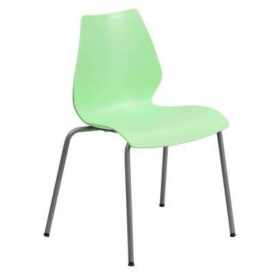Hercules Series 770 lb. Capacity Green Stack Chair with Lumbar Support and Silver Frame