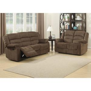 AC Pacific Bill Brown Contemporary Upholstered Recliner Sofa ...
