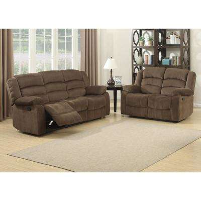Bill Contemporary 2-Piece Brown Living Room Recliners Sofa