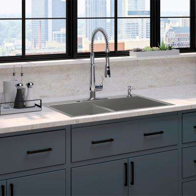 Vault Top/Under-Mount Stainless Steel 33 in. 4-Hole Double Bowl Kitchen Sink with Simplice Faucet