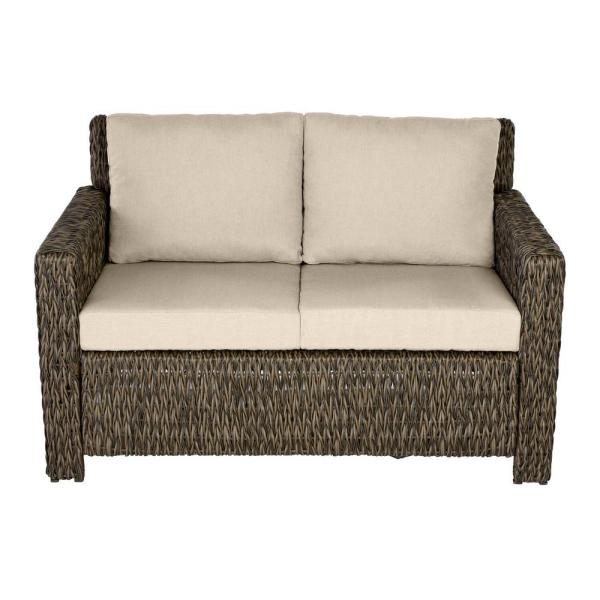 Laguna Point Brown Wicker Outdoor Patio Loveseat with CushionGuard Putty Tan Cushions