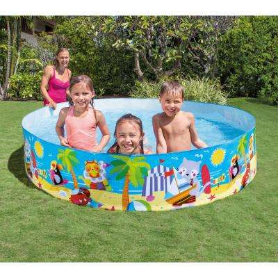 8 ft. x 8 ft. x 1.5 ft. D Round Snap Set Kiddie Instant Swimming Pool Seashore Buddies