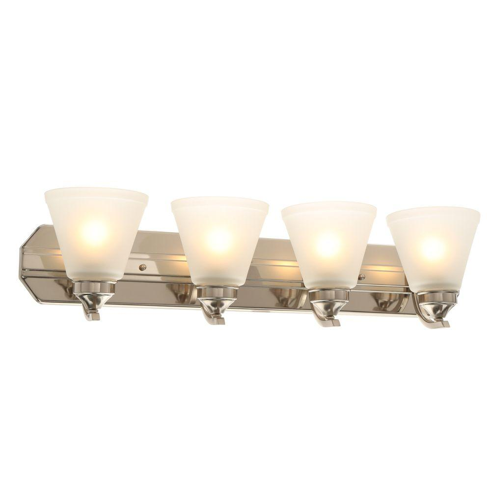 Hampton Bay 4-Light Brushed Nickel Vanity Light with Frosted Shades ...